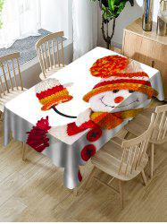 Christmas Snowman Print Fabric Waterproof Tablecloth -