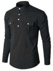 Stand Collar Solid Color Shirt -