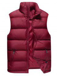 Stand Collar Zip Up Cotton-Padded Vest -