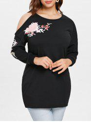 Cut Out Sleeve Plus Size Floral Print T-shirt -