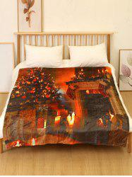 Christmas Tree Fireplace Print Flannel Soft Bed Blanket -