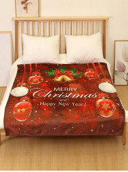 Merry Christmas Bell Print Flannel Soft Bed Blanket -