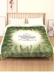 Merry Christmas Leaf Print Flannel Soft Bed Blanket -