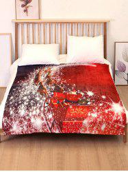 Christmas Sleigh Elk Print Flannel Soft Bed Blanket -