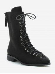 Lace Up Low Heel Mid Calf Boots -