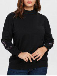 Plus Size Floral Patch Sleeve Sweater -