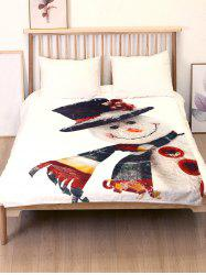 Christmas Snowman Printed Flannel Bed Blanket -