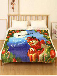 Merry Christmas Snowman Print Flannel Bed Blanket -