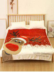 Merry Christmas Elk Print Flannel Soft Bed Blanket -