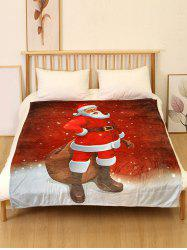 Father Christmas Print Flannel Soft Blanket -