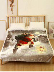 Father Christmas Print Flannel Soft Bed Blanket -