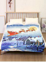 Santa Claus Sleigh Elk Print Flannel Soft Bed Blanket -