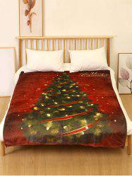 Merry Christmas Tree Print Flannel Soft Bed Blanket -