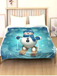 Christmas Snowman Skiing Flannel Bed Blanket -
