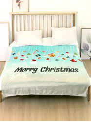 Merry Christmas Theme Printed Flannel Bed Blanket -