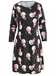 Snowman Print Mini Christmas Dress -