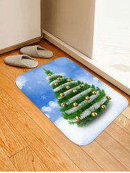 Christmas Tree and Baubles Snowflakes Print Floor Mat -