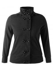 Plus Size Double Breasted Hooded Jacket -