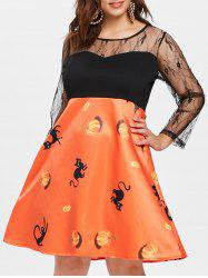 Plus Size Lace Panel Halloween Dress -