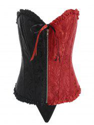 Zip Up Contrast Corset with Thong -