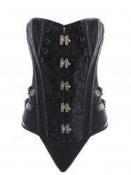 Retro Lace-up Jacquard Corset with Thong -