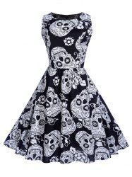 Halloween Vintage Skull Print Swing Dress -