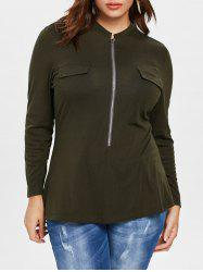 Plus Size Long Sleeve Zipper T-shirt -