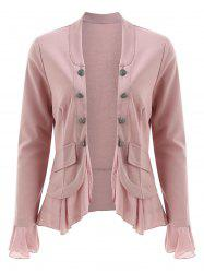 Open Front Buttons Flounce Jacket -