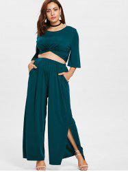 Plus Size Twist Top and High Waisted Pants -