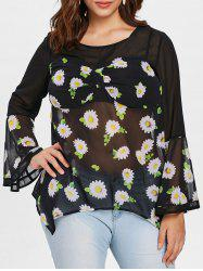 Plus Size Empire Waist Floral Blouse -