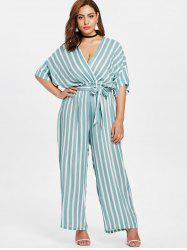 Striped Plus Size Surplice Jumpsuit -