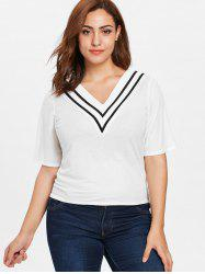 Short Sleeve V Neck Plus Size Tee -