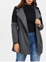 Plus Size Contrast Zippered Woollen Coat -