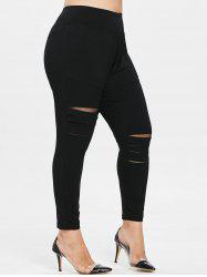 Distressed Plus Size Elastic Waist Leggings -