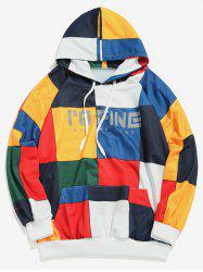 Square Color Block Letter Print Pouch Pocket Hoodie -