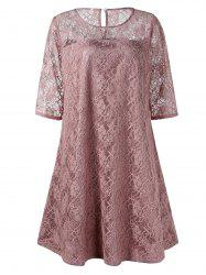 Plus Size Lace Trapeze Dress -