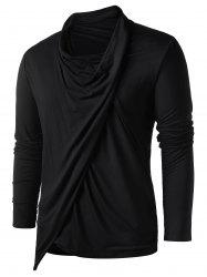 Asymmetric Heaps Collar Long Sleeve T-shirt -