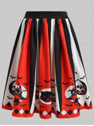 High Rise Printed Halloween Skirt -