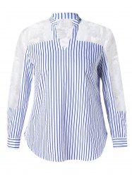 Sheer Lace Inset Striped Plus Size Shirt -