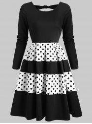 Contrast Dotted Back Cut Out Mini Dress -
