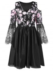 Lace Panel Floral Embroidered Cold Shoulder Dress -
