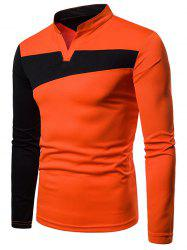 Stand Collar Contract Color Long Sleeve T-shirt -