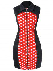 Polka Dot Bodycon Dress with Zipper Fly -