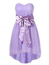 Sweetheart Neckline Bowknot Sash High Low Mesh Cocktail Dress -