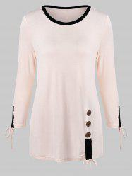Color Trim Long Sleeve T-shirt with Buttons -