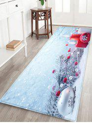 Tree Branches Candles and Balls Printed Christmas Floor Mat -