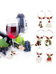 Christmas Theme Beads Wine Charm Ring Set -