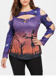 Halloween Print Plus Size  Cut Out T-shirt -