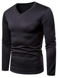 V Neck Solid Color Fleece T-shirt -