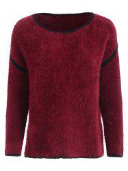 Drop Shoulder Fuzzy Pullover Sweater -